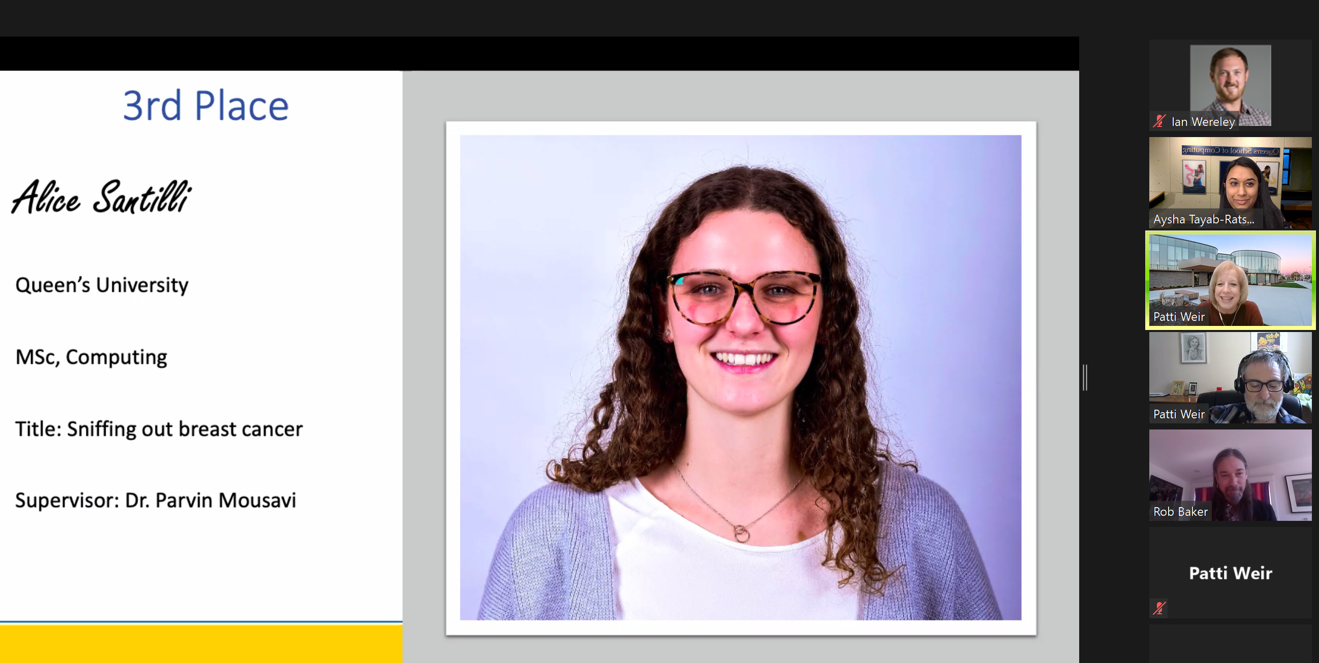 Alice Santilli has been selected for 3rd place at the Ontario Regional 3MT Virtual Competition 2020